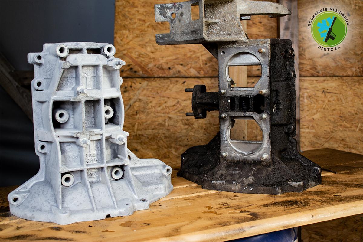 Motor reinigen, Getreibe säubern, Öl entfernen, Motorwäsche, Trockeneisstrahlen, Trockeneisreinigung Dietzel, Motorgehäuse, Trabant, Trabi